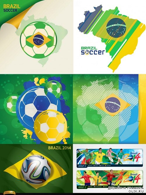Vector - Backgrounds World Cup Football in Braz