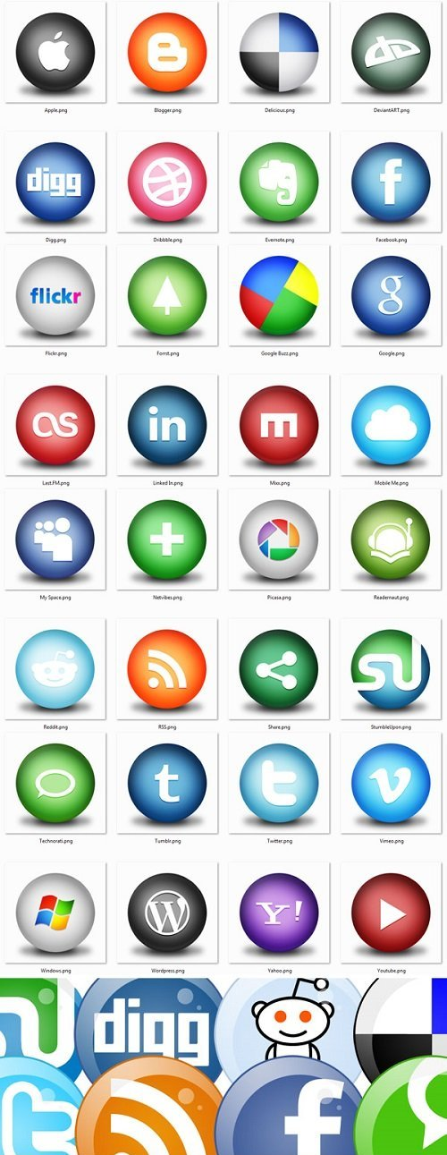 Icon Pack Orb Social Media Productivity and Bubbles