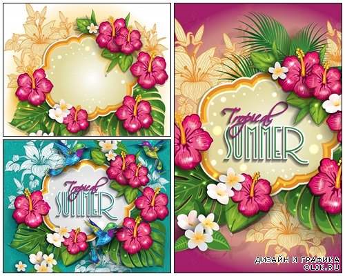 Tropical summer background fuchsia - vector stock