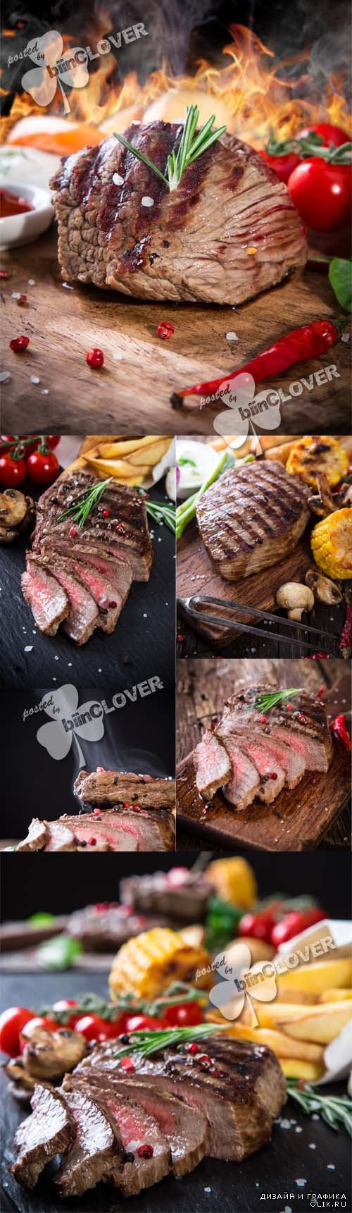 Grilled meat on wooden table 0579