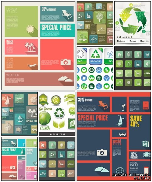 Travel and ecology vector flat icons set - vector stock