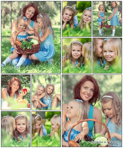 Mother and daughters in the summer park - Stock Photo