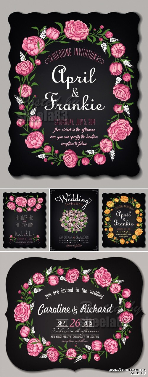 Wedding Invitations with Flowers Vector