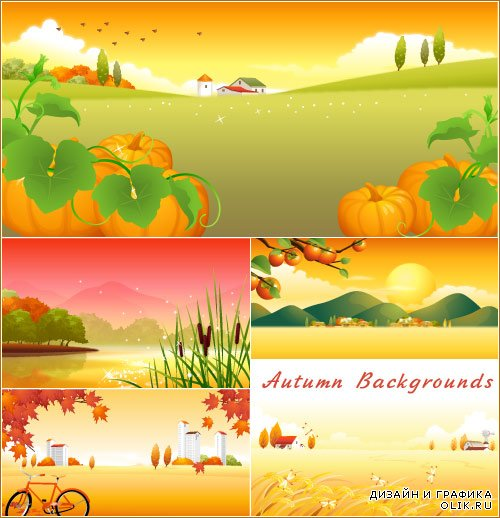 Autumn landscape with large pumpkins and reeds (Vector)
