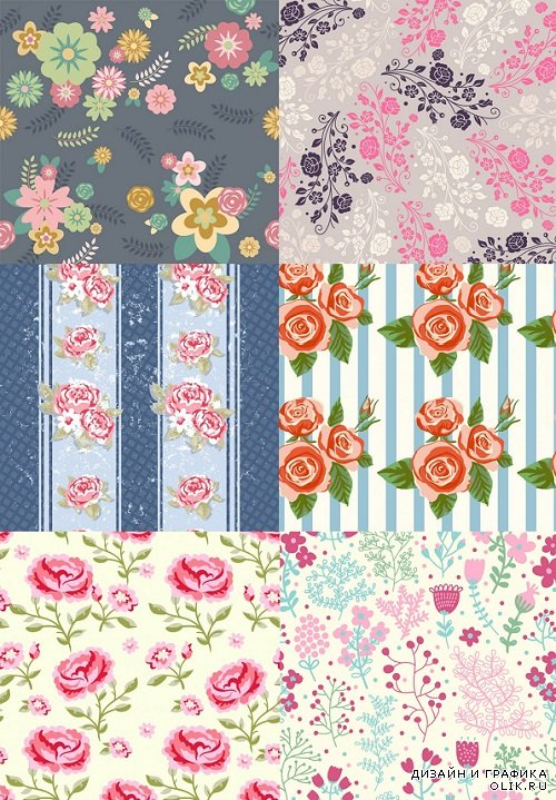 Vector - Backgrounds flowers set on walls