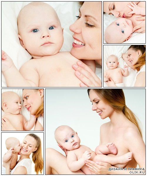 Happy mother with small baby - Stock Photo