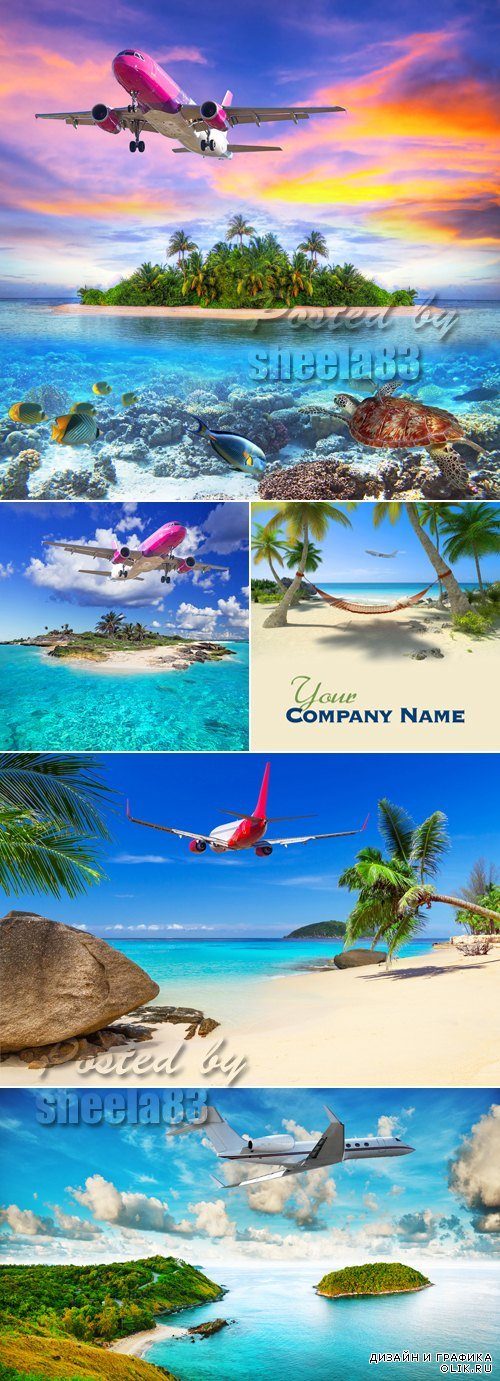 Stock Photo - Airplane Flying to Tropical Island