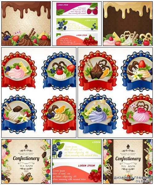 Cupcakes and fruit labels - vector stock