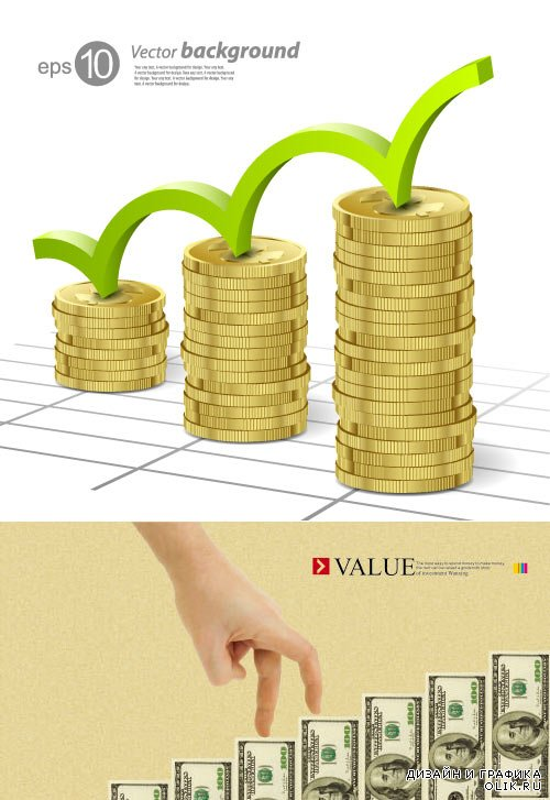 Business infographics dollar bills coins (Vector)