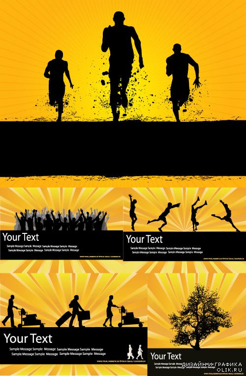 Silhouettes of strong athletes vector
