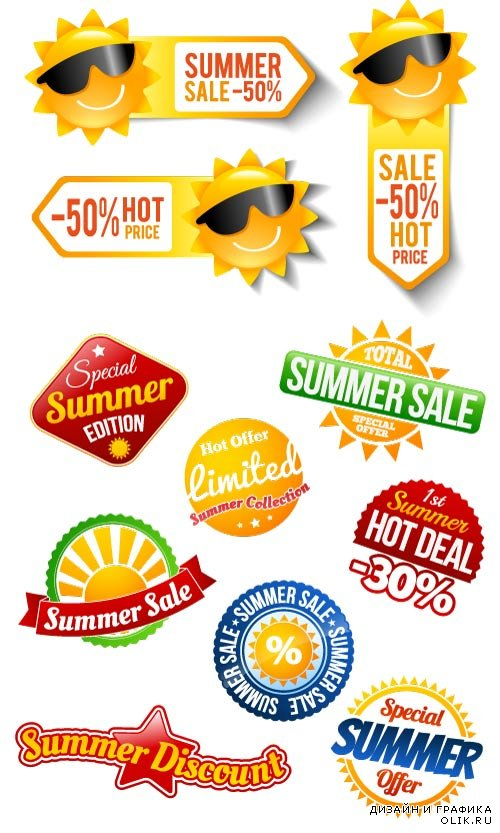 Summer sale banners labels stickers vector
