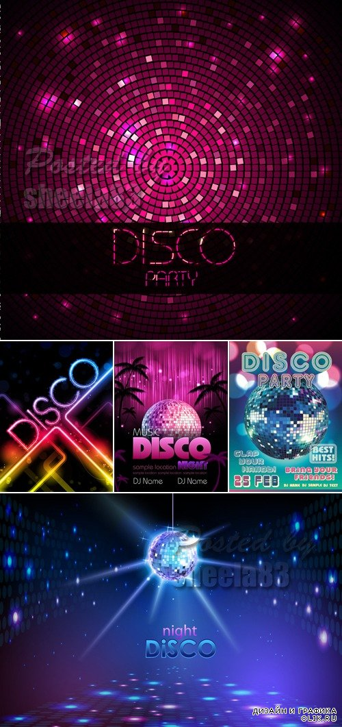 Disco Music Party Flyers Vector