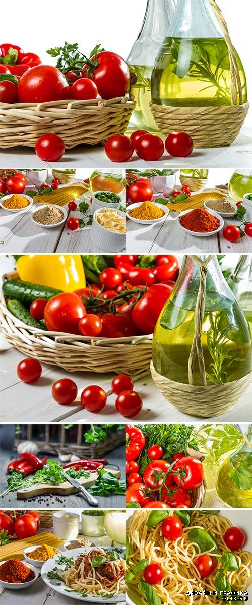 Stock Photo: Fresh vegetables and spices in Italian cuisine
