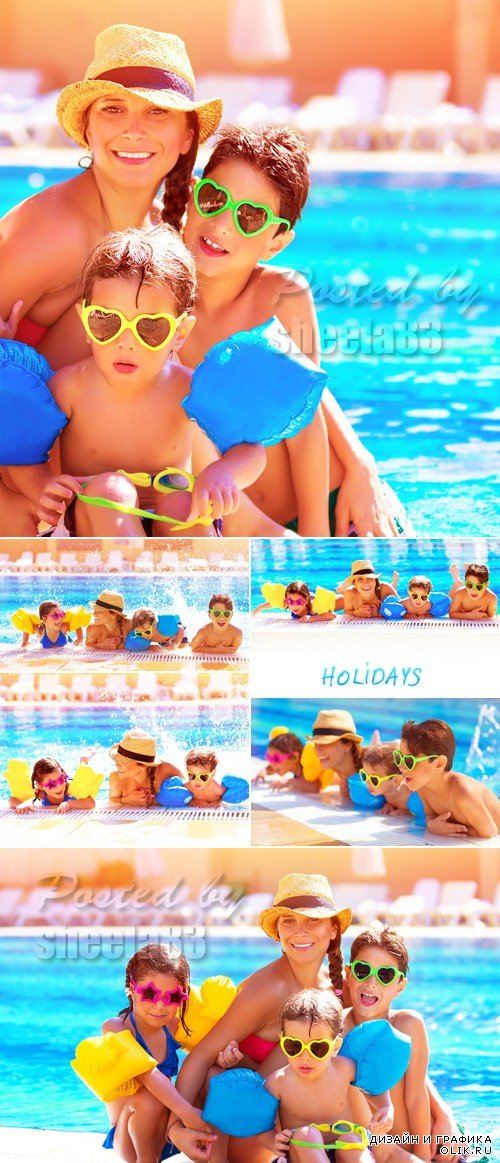 Stock Photo - Happy Family at the Pool