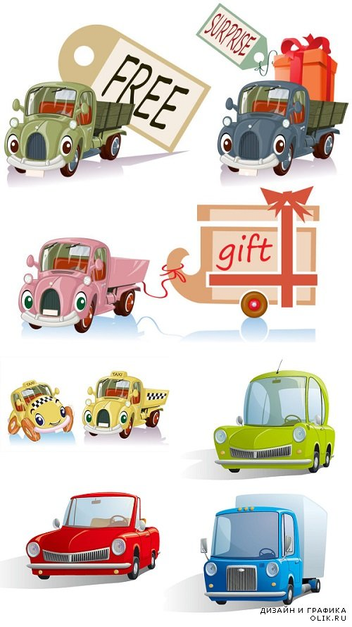 Vector Different Funny Cartoon Cars