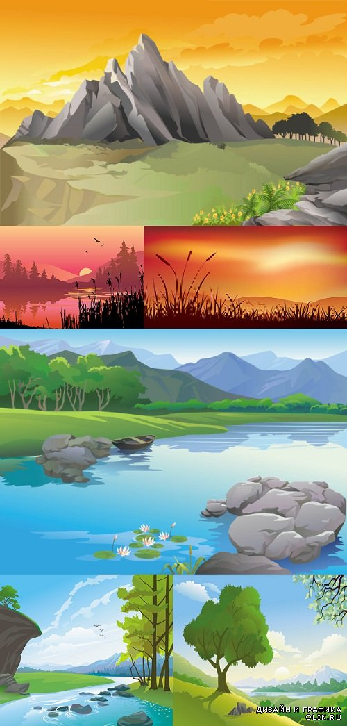 Vector Beautiful Landscapes Painted
