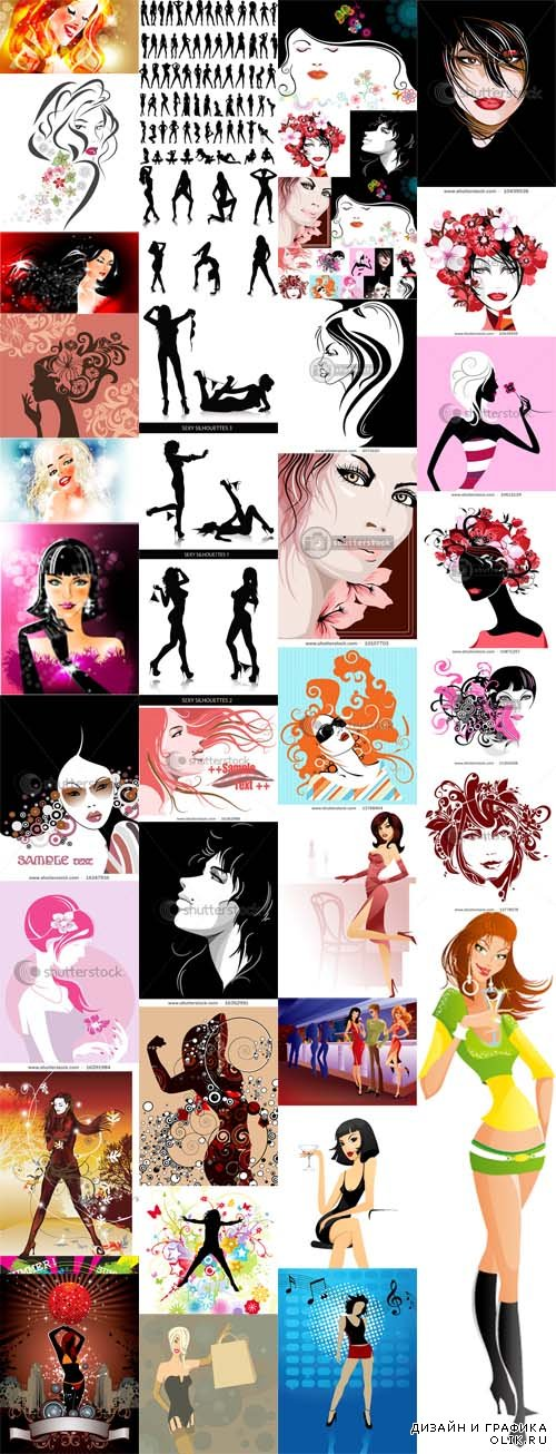 Vector Girls Images and Silhouettes