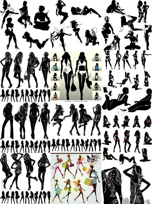 Silhouettes Girls Vector Set