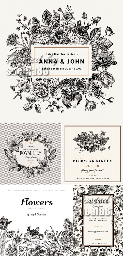 Black and White Floral Cards Vector 2