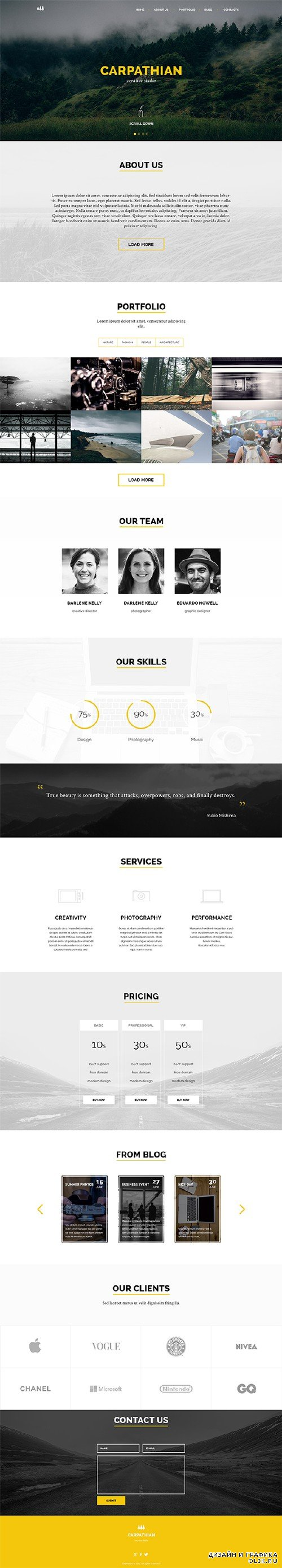 Carpathian – Creative One Page PSD Template