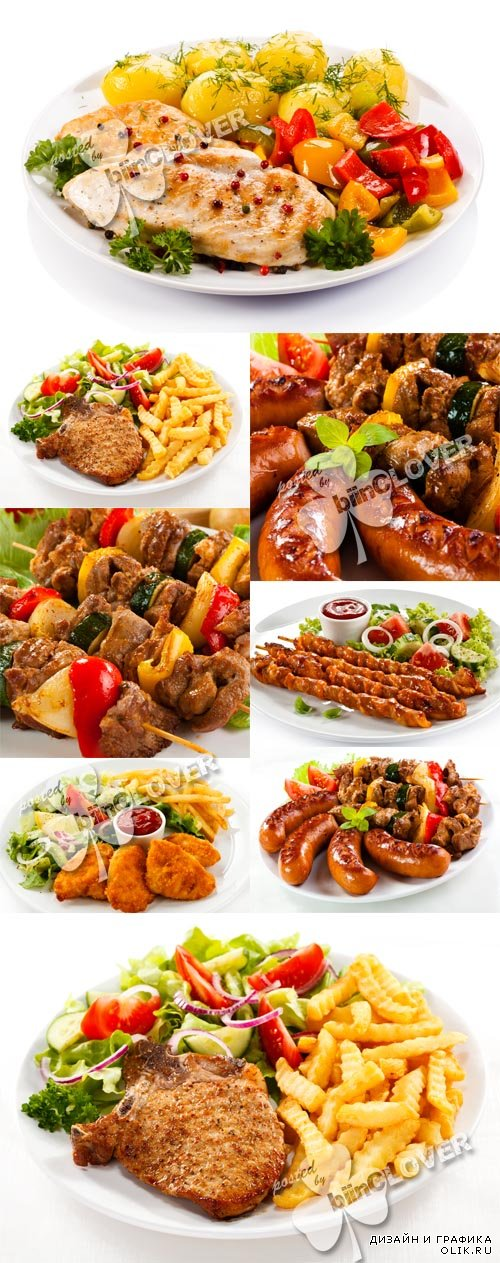 Grilled meat, sausages and vegetables 0588