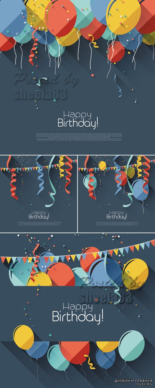 Birthday Cards with Balloons Vector