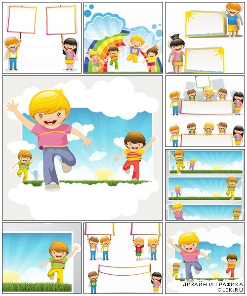Happy kids with banners - vector stock