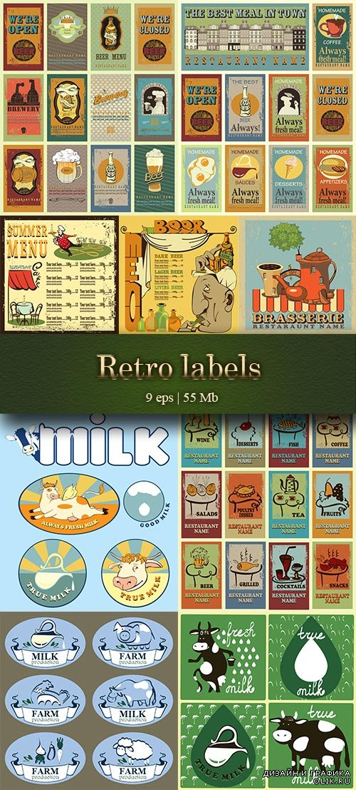Retro labels: beer's, summer menu,always fresh milk and  most used different labels - Ретро лейблы: пиво, летнее меню, всегда свежее молоко