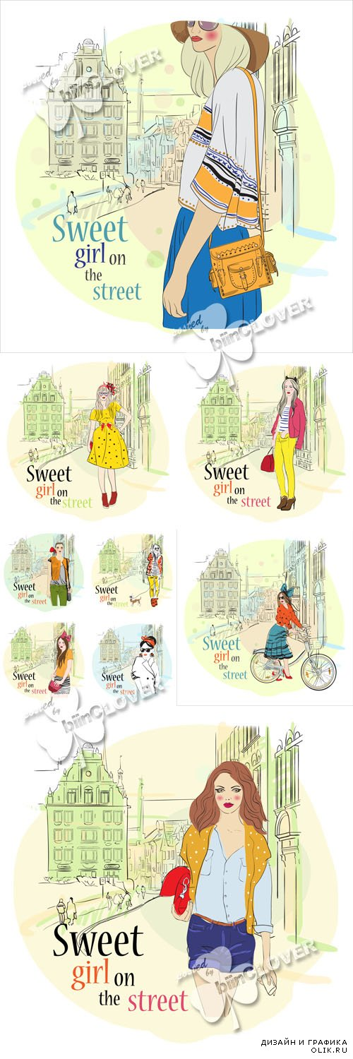 Fashion girls on streets of town sketch illustrations 0591