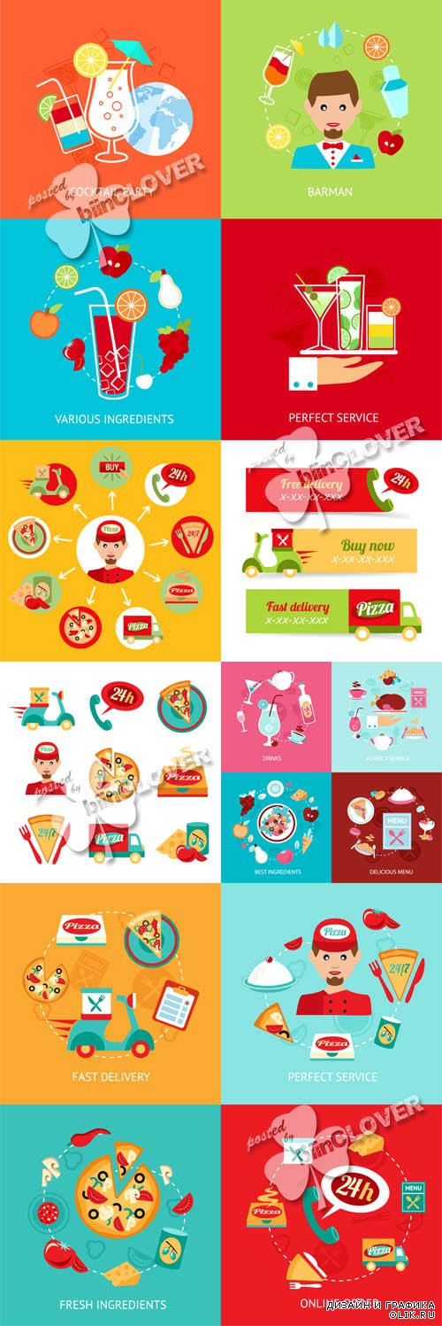 Fast food, pizza, cocktail icons set 0592