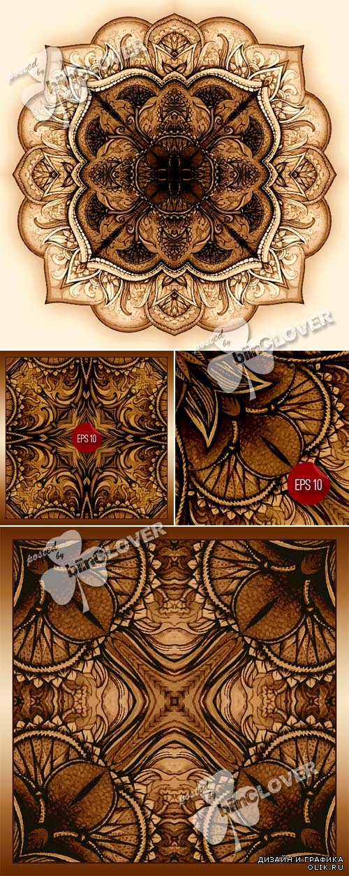 Oriental backgrounds with vintage decorative elements 0592
