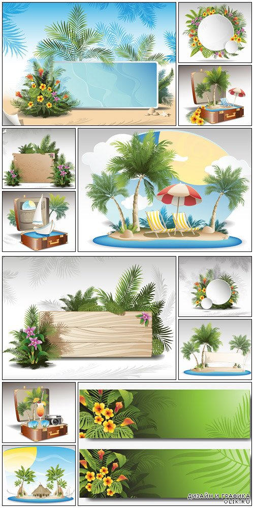 Tropical summer vacation - vector stock