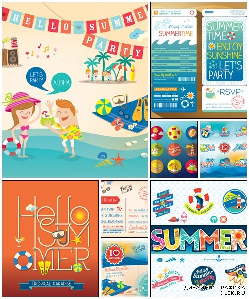 Summer posters, 8 - vector stock