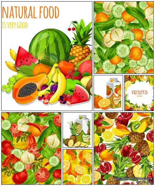 Fruit and vegetables vector backgrounds - vector stock