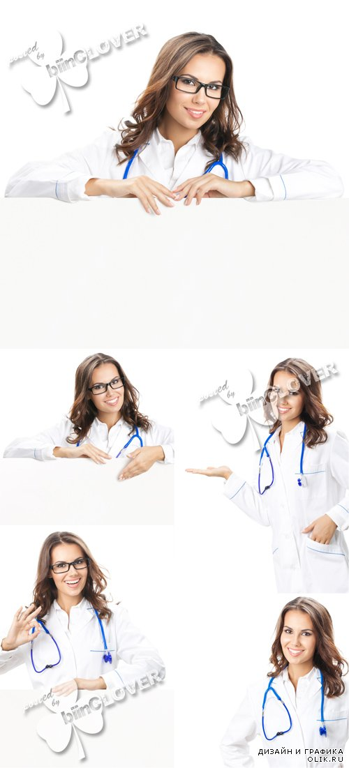Woman doctor with blank signboard 0596