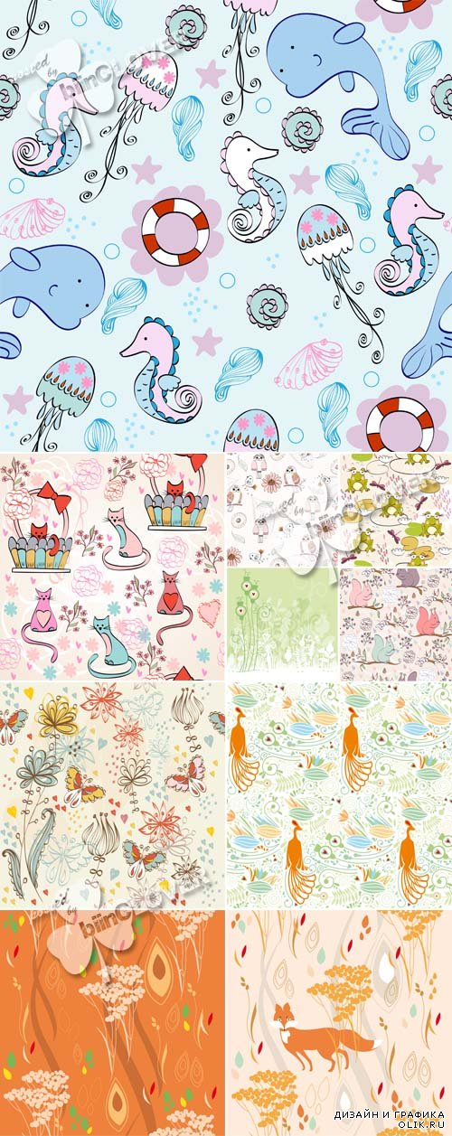 Cute cartoon animals seamless pattern 0596