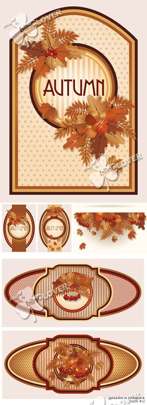 Autumn cards with colorful leaves 0597