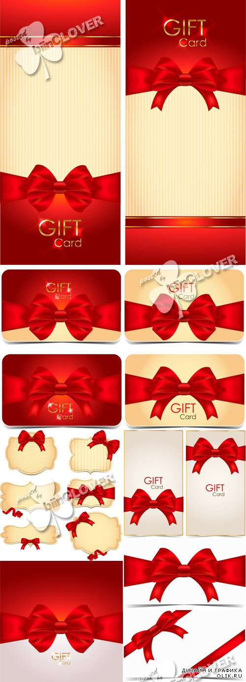 Gift cards and banners with red bows 0597