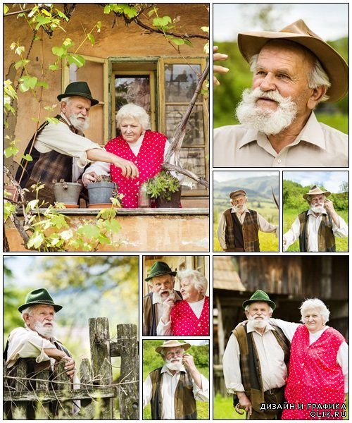 Senior couple on farm - Stock Photo