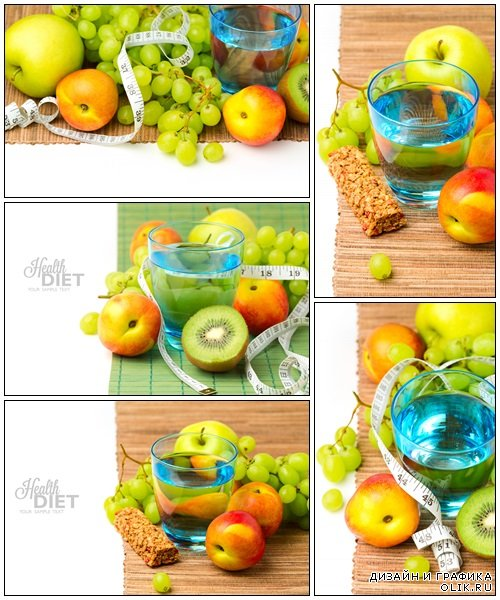 Water and healthy fruits for diet concept - Stock Photo