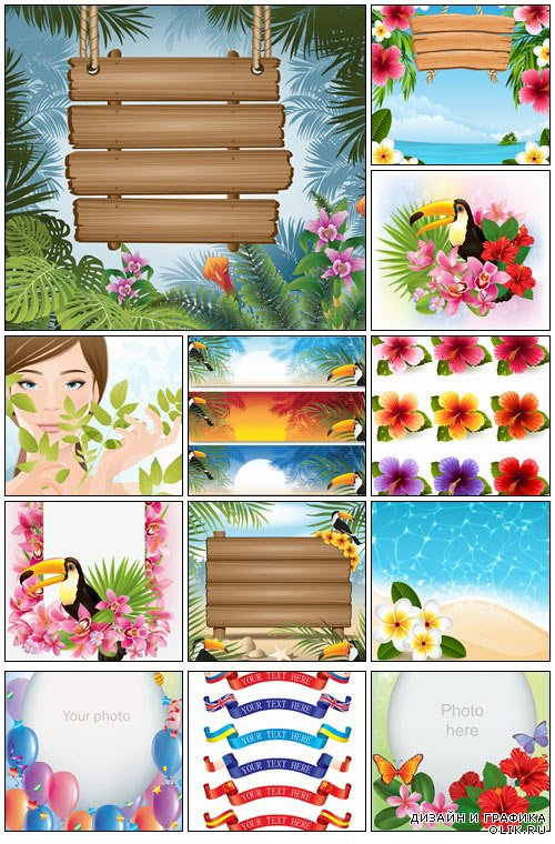 Summer tropical elements - vector stock