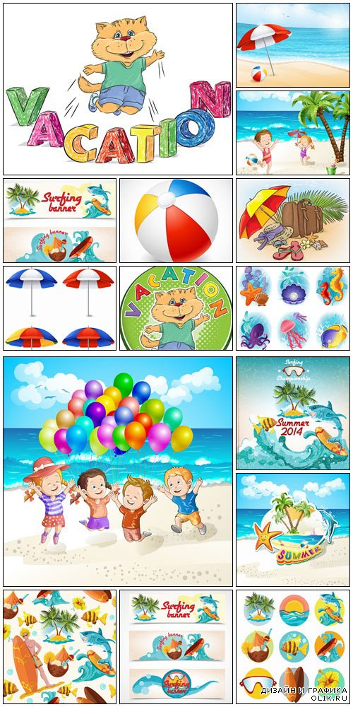 Summer elements set - vector stock