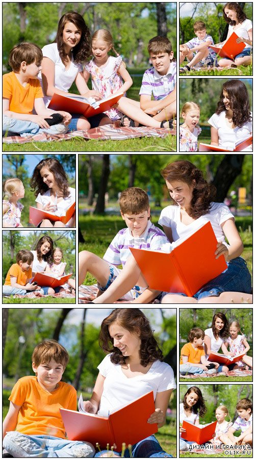 Reading a book together - Stock Photo