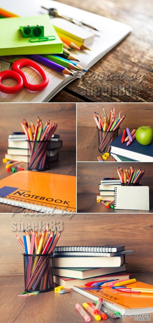 Stock Photo - School Supplies on Wooden Background