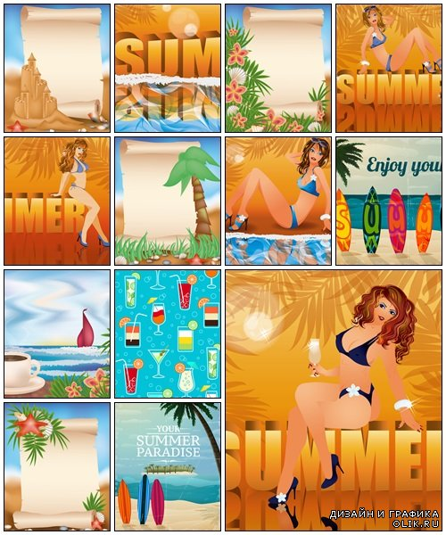 Summer vacation background - vector stock