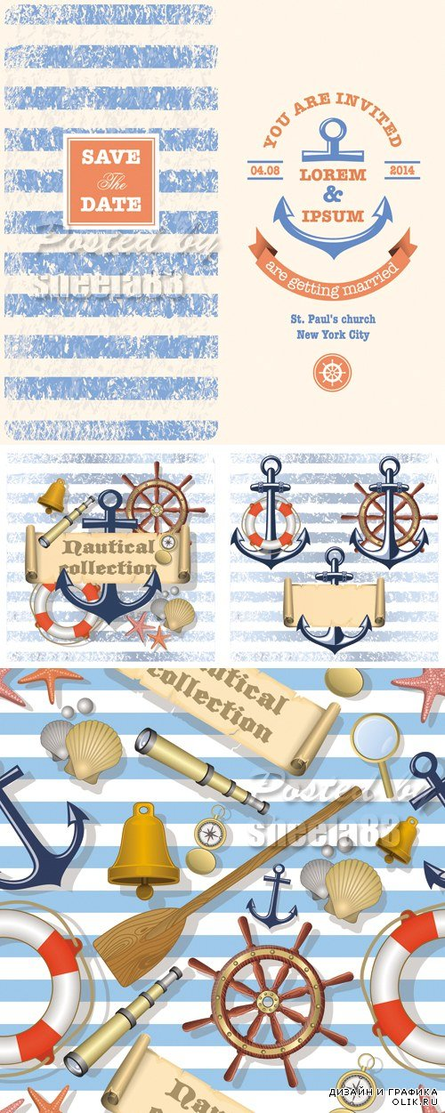 Nautical Style Backgrounds Vector