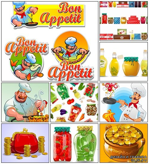 Cook and bon appetit labels - vector stock