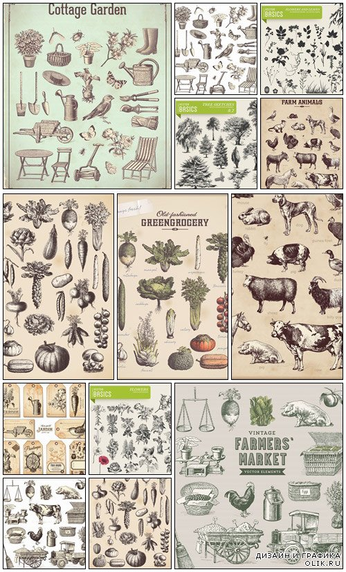 Farmers and garden vector collection - vector stock