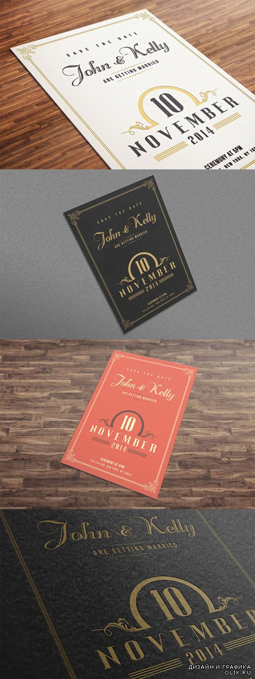Vector and PSD -  Wedding Invitation Postcard