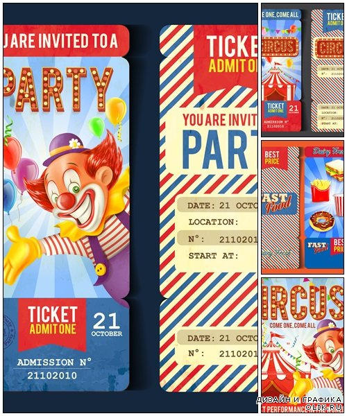 Food and circus ticket - vector stock